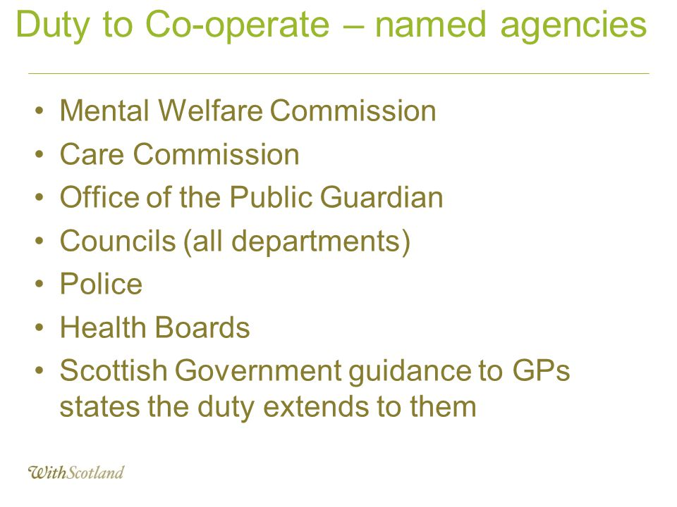 Duty to Co-operate – named agencies