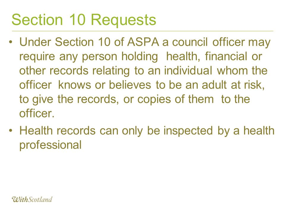 Section 10 Requests