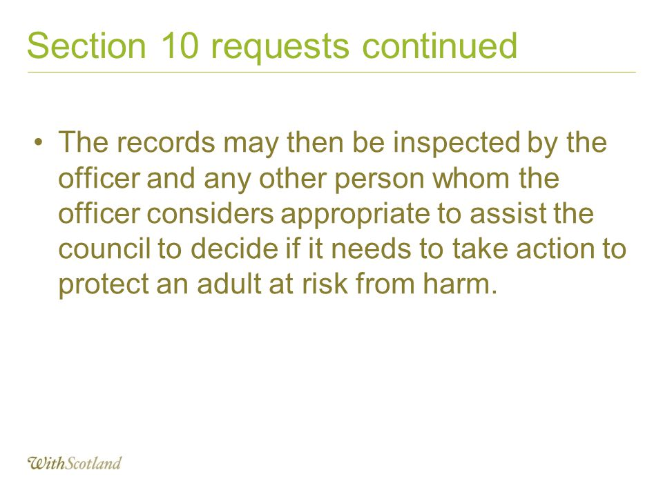 Section 10 requests continued