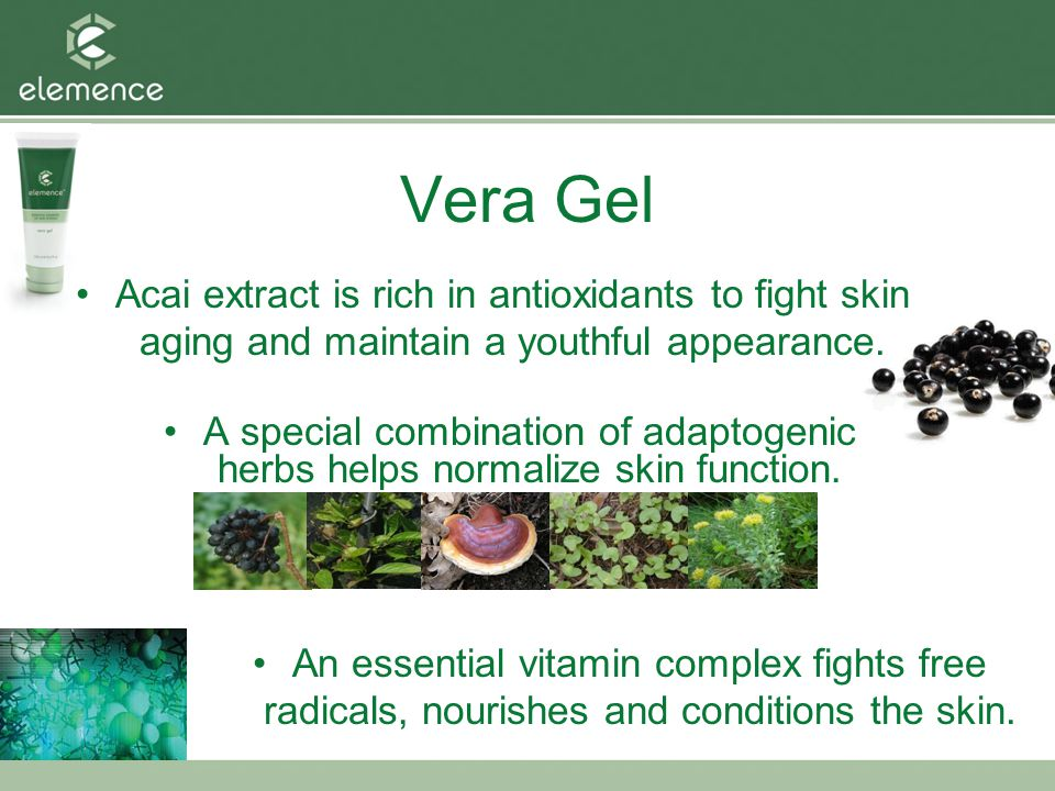 Vera Gel Acai extract is rich in antioxidants to fight skin aging and maintain a youthful appearance.