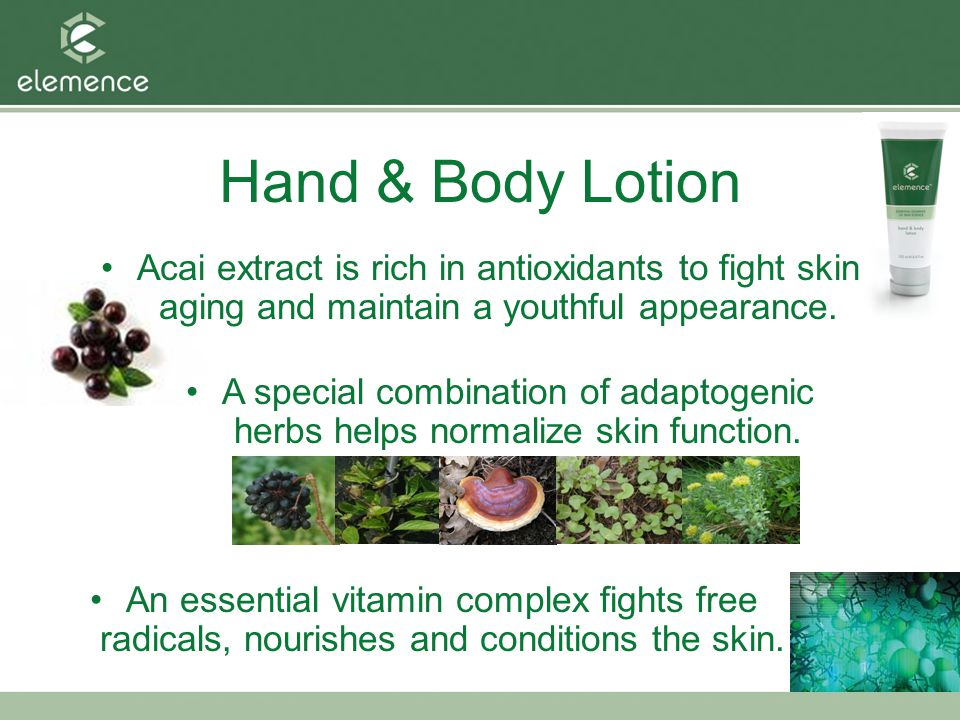 Hand & Body Lotion Acai extract is rich in antioxidants to fight skin aging and maintain a youthful appearance.
