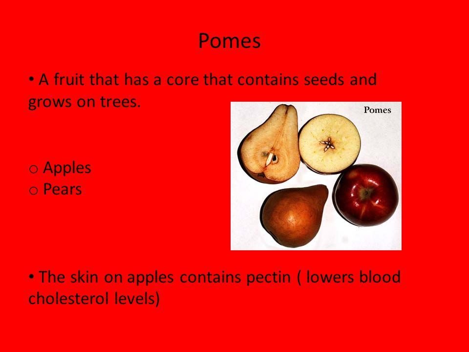 Pomes A fruit that has a core that contains seeds and grows on trees.