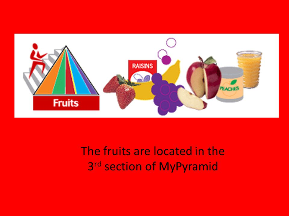 The fruits are located in the 3rd section of MyPyramid