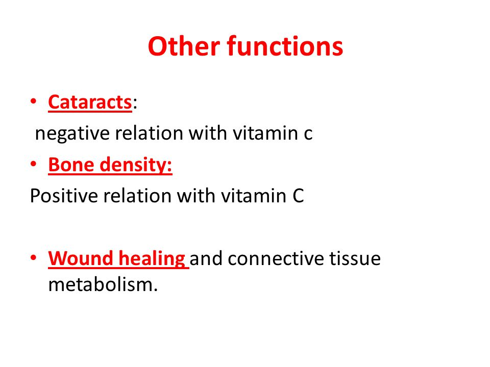 Other functions Cataracts: negative relation with vitamin c