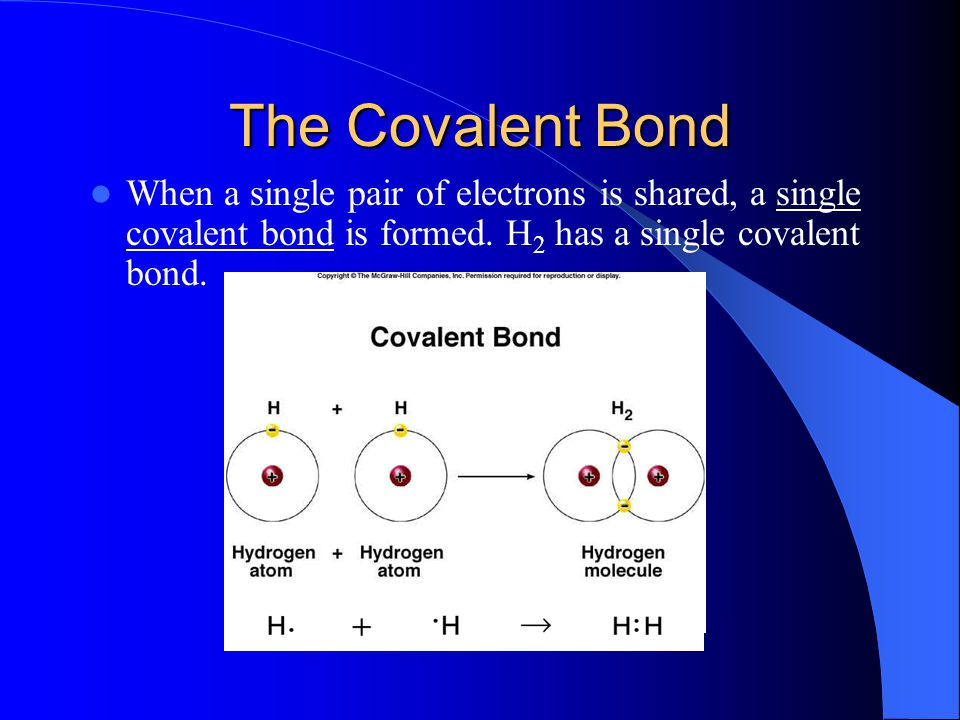 The Covalent Bond When a single pair of electrons is shared, a single covalent bond is formed.