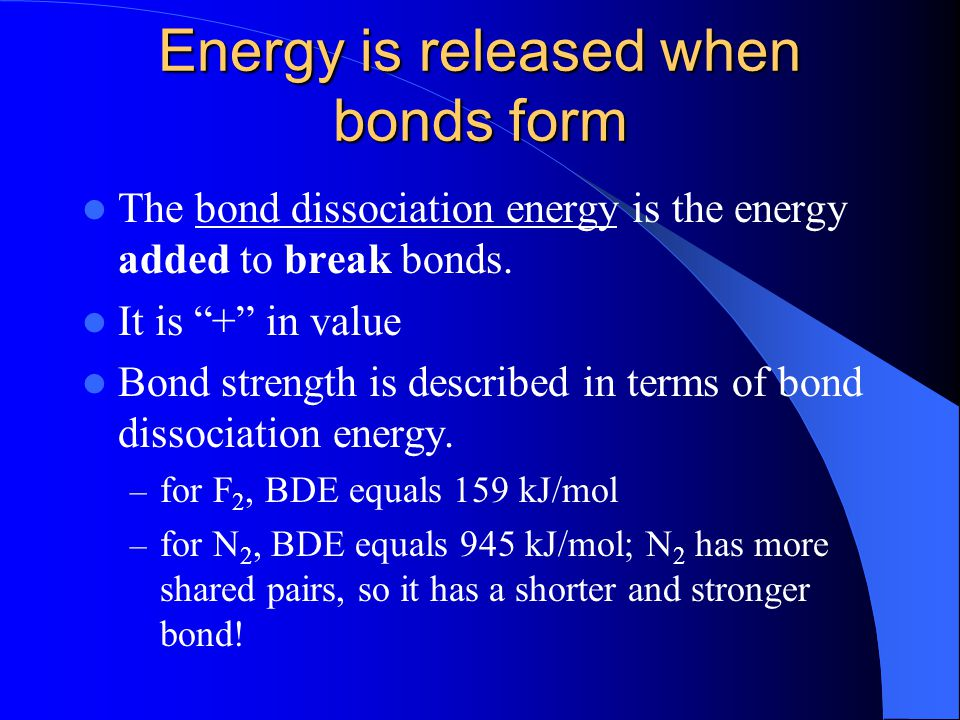 Energy is released when bonds form
