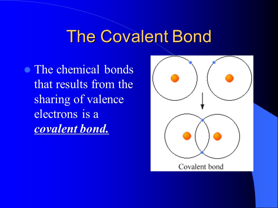The Covalent Bond The chemical bonds that results from the sharing of valence electrons is a covalent bond.