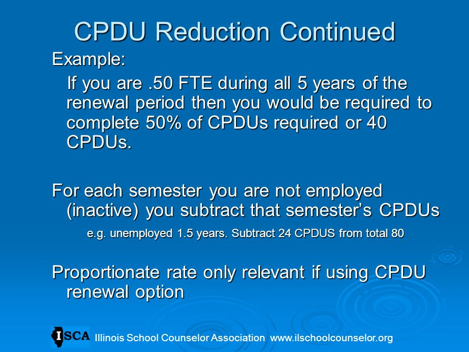 CPDU Reduction Continued
