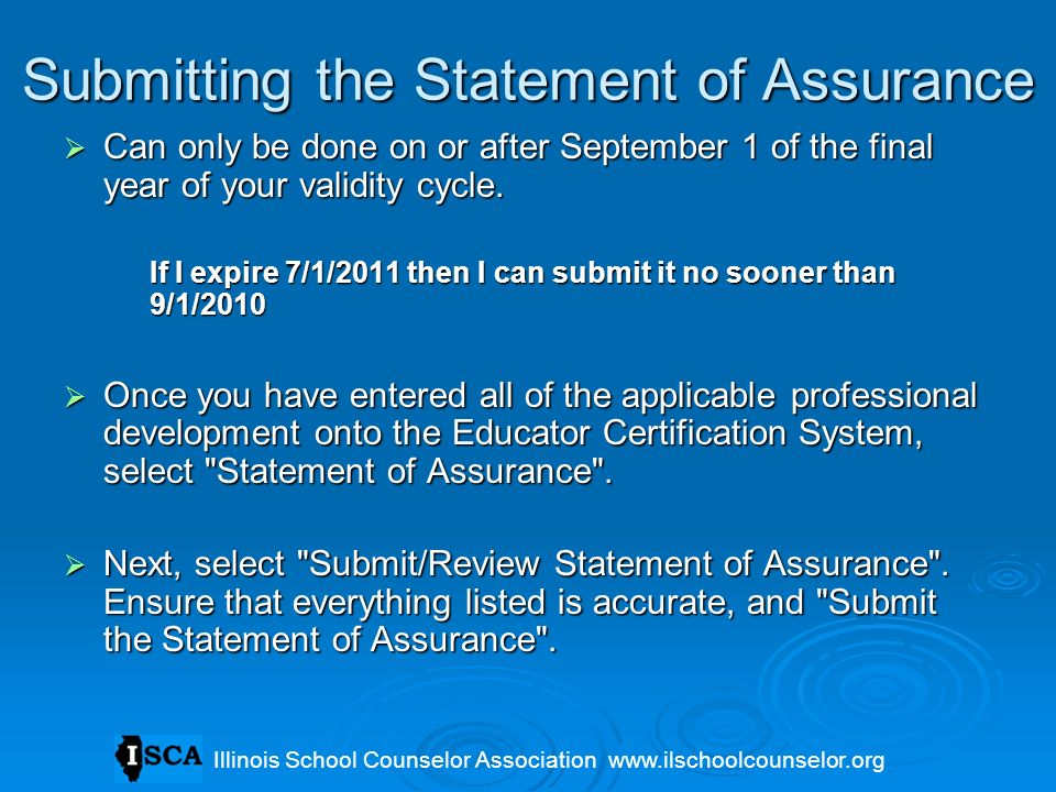 Submitting the Statement of Assurance