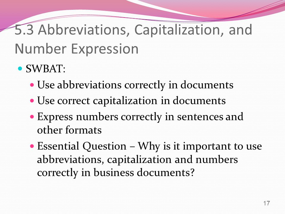 5.3 Abbreviations, Capitalization, and Number Expression