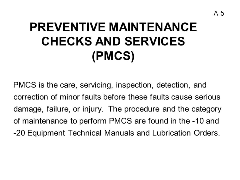 Table 10 Preventive Maintenance Checks And Services Pmcs Monthly