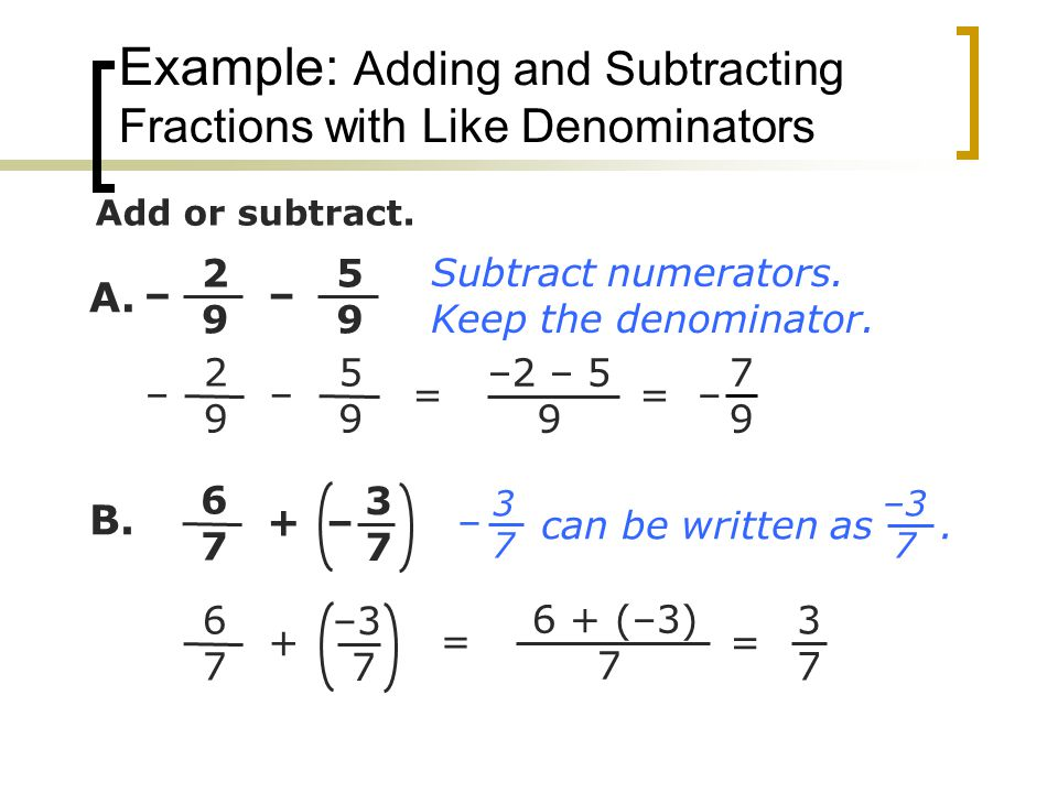 Example: Adding and Subtracting Fractions with Like Denominators