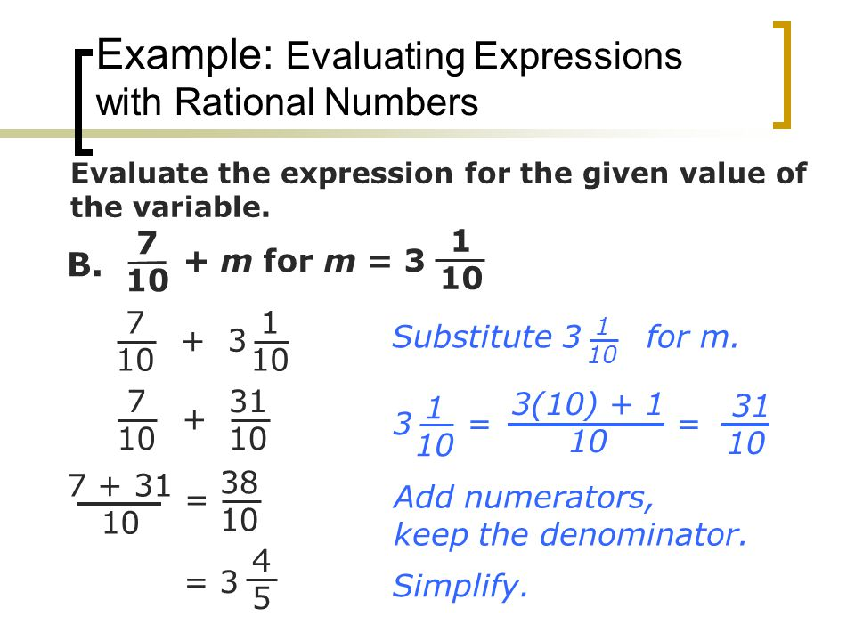 Example: Evaluating Expressions with Rational Numbers