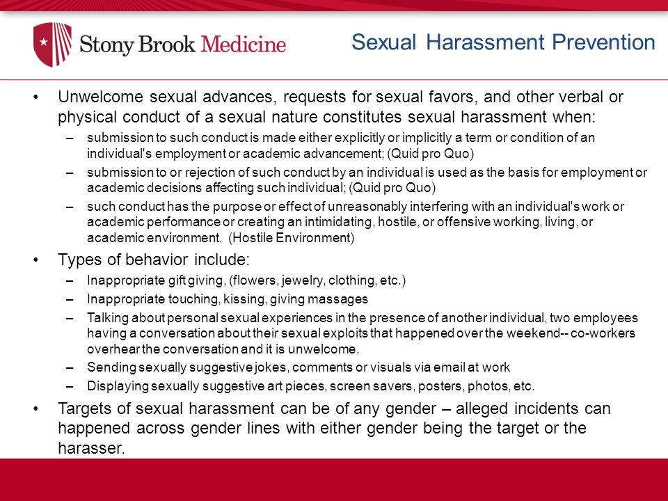 Harassment information sexual