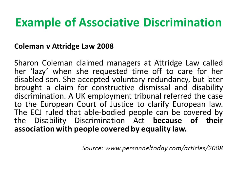 constructive discrimination Specifically, constructive norms were found to lead to lower levels of perceived organizational discrimination, while aggressive/defensive organizational culture norms were found to lead to the highest level of perceived organizational discrimination.