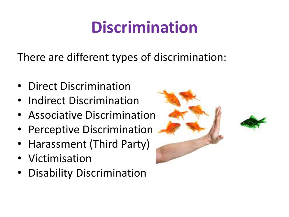 forms of discrimination The equality act defines two primary types of discrimination: direct discrimination  happens when someone treats you less favourably specifically because you.