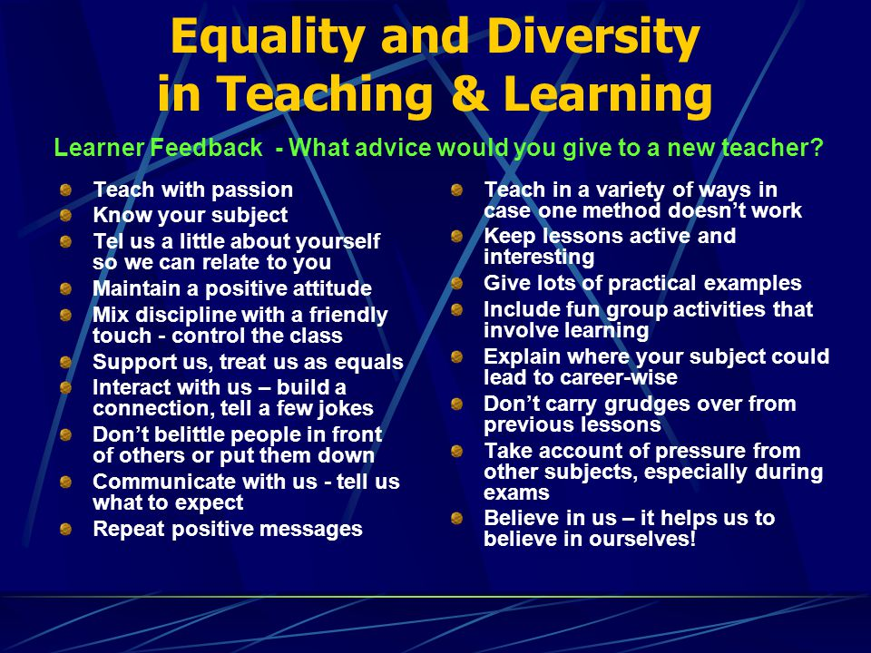 equality and diversity checklist for learning It can be used as practitioner's development around observations of teaching, learning and assessment it can be used as part of an this short ofsted checklist is designed to get you to consider equality, diversity and inclusion (edi) as an integral part of your design, planning and delivery use it to review your practice.