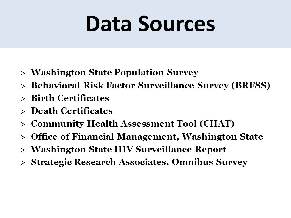Data Sources Washington State Population Survey