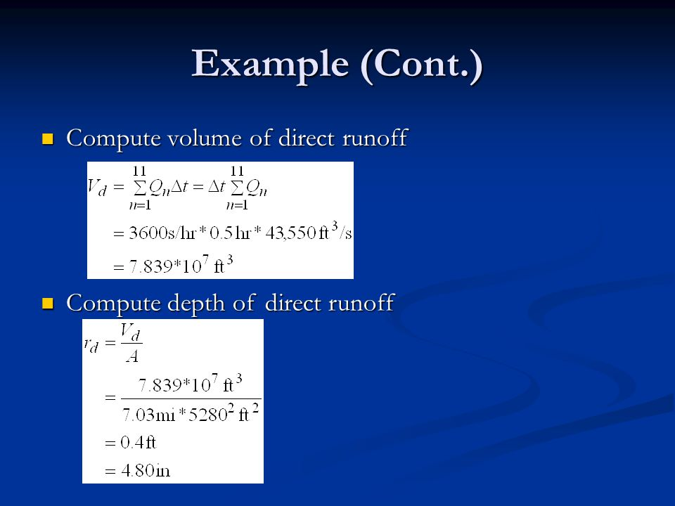 Example (Cont.) Compute volume of direct runoff