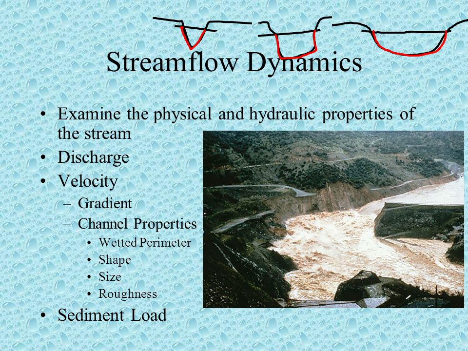 Streamflow Dynamics Examine the physical and hydraulic properties of the stream. Discharge. Velocity.