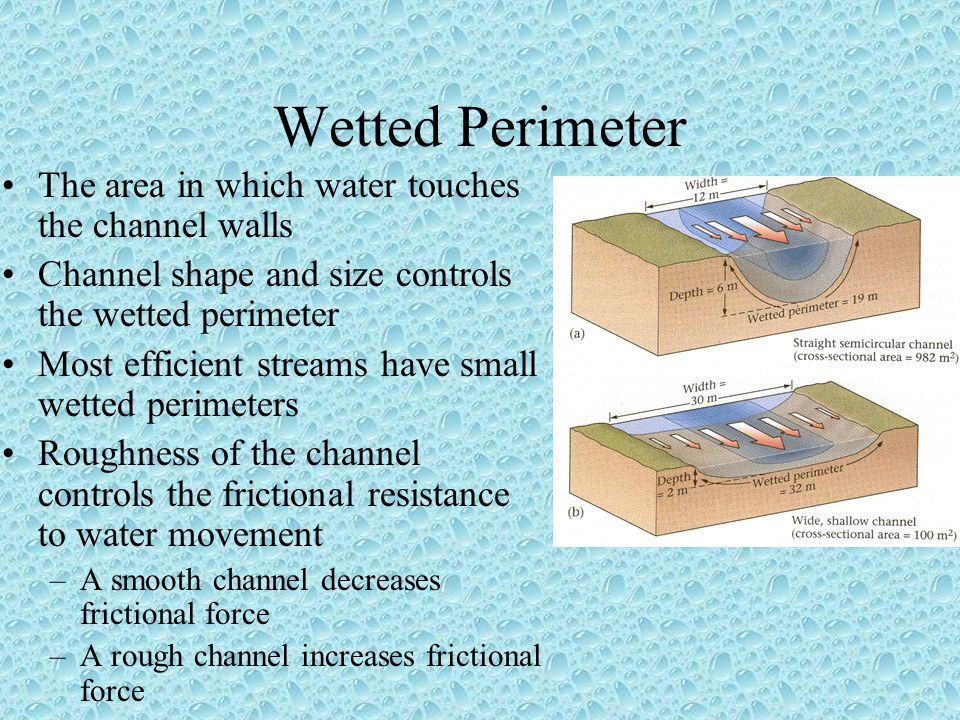 Wetted Perimeter The area in which water touches the channel walls