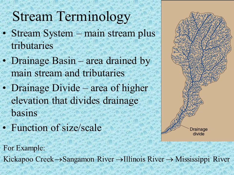 Stream Terminology Stream System – main stream plus tributaries