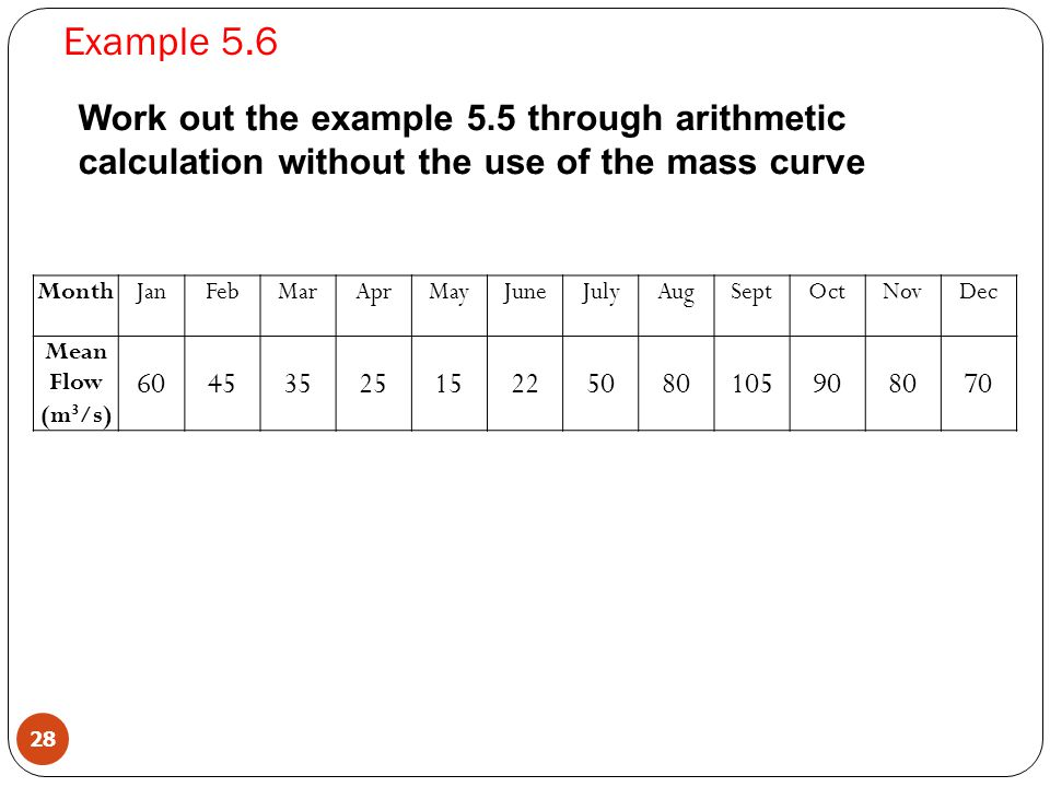 Example 5.6 Work out the example 5.5 through arithmetic calculation without the use of the mass curve.