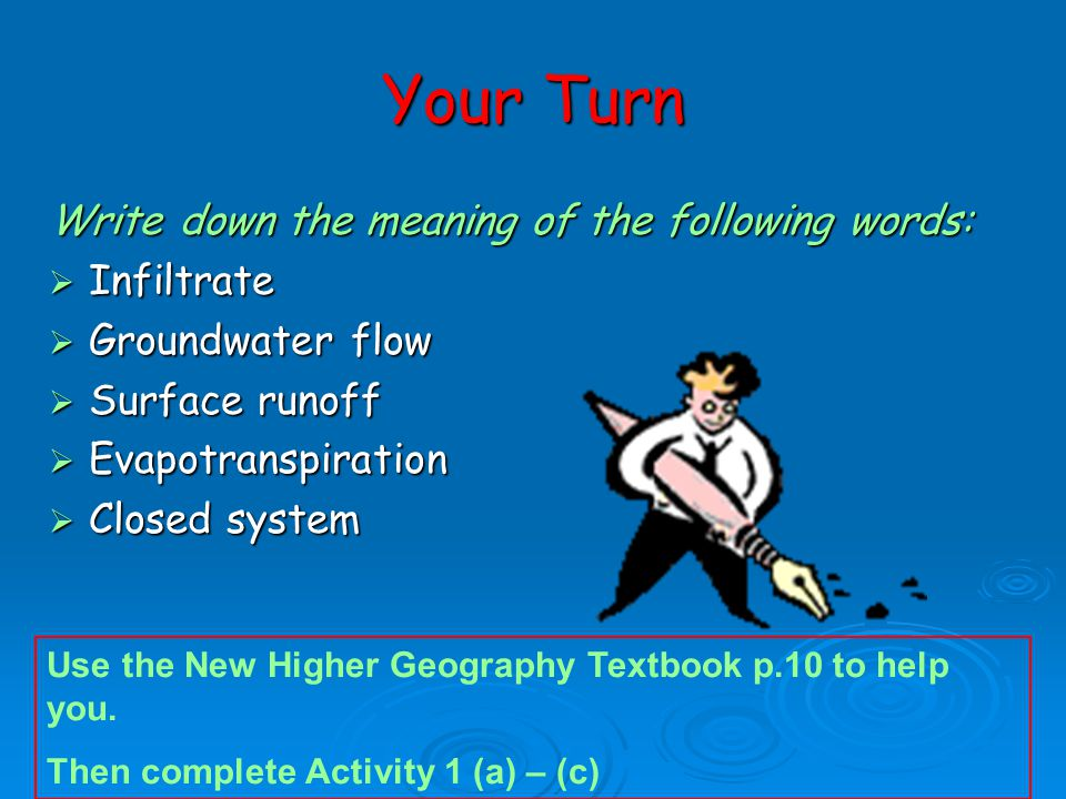Your Turn Write down the meaning of the following words: Infiltrate