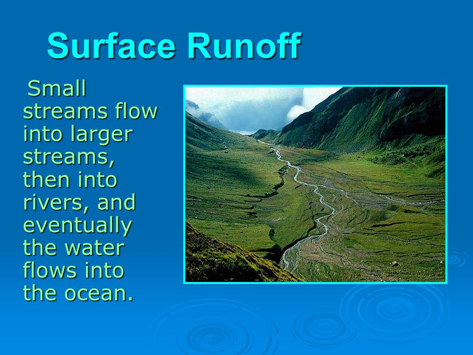 Surface Runoff Small streams flow into larger streams, then into rivers, and eventually the water flows into the ocean.