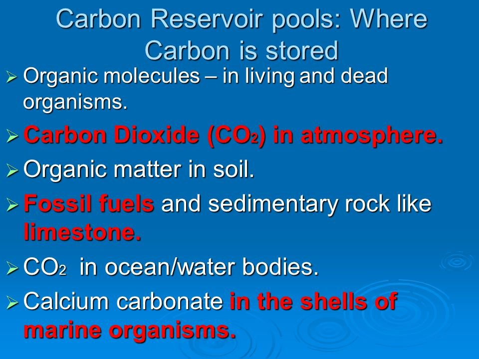 Carbon Reservoir pools: Where Carbon is stored