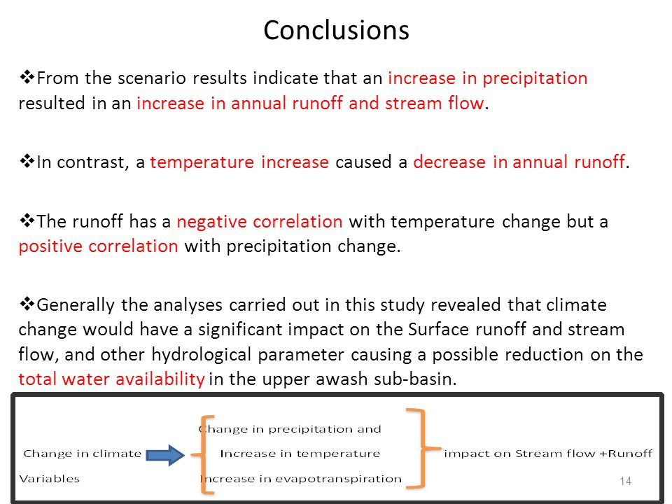 Conclusions From the scenario results indicate that an increase in precipitation resulted in an increase in annual runoff and stream flow.
