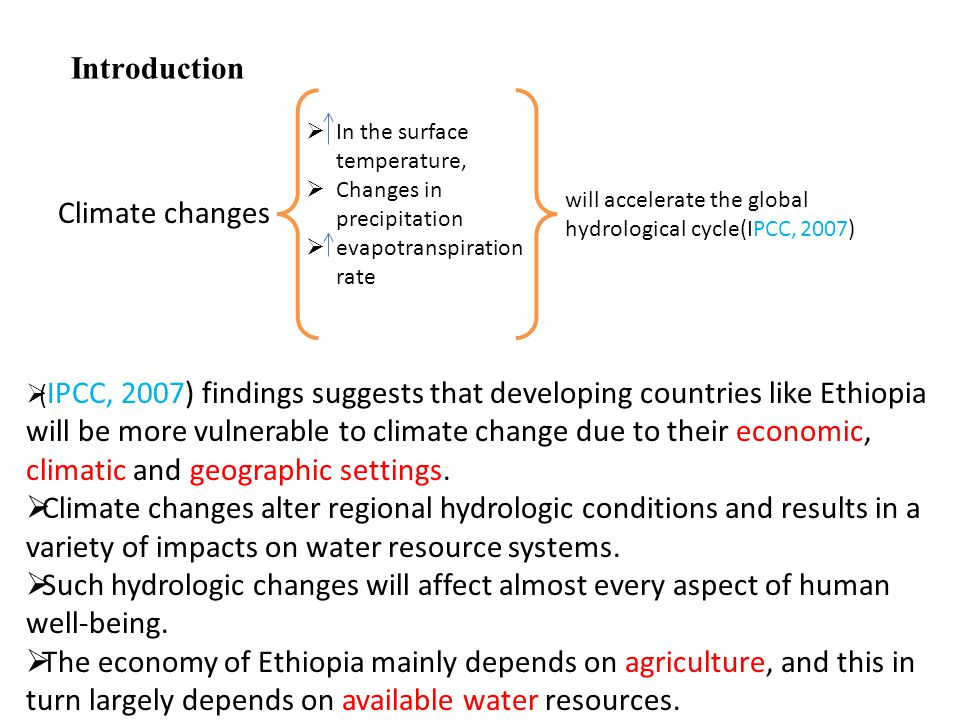 Introduction Climate changes