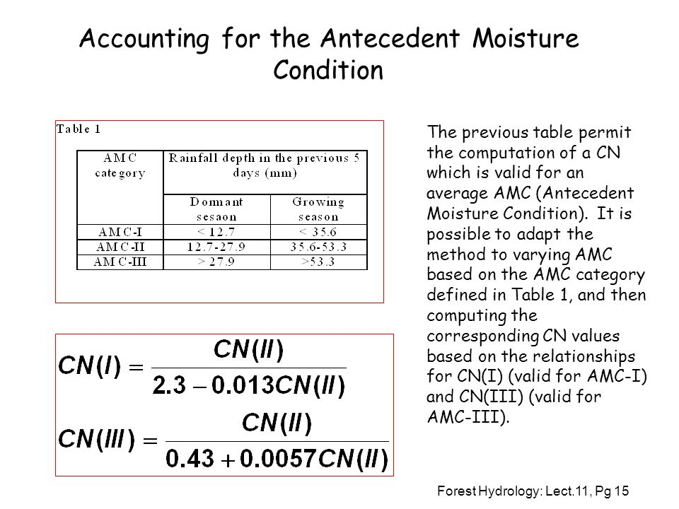 Accounting for the Antecedent Moisture Condition