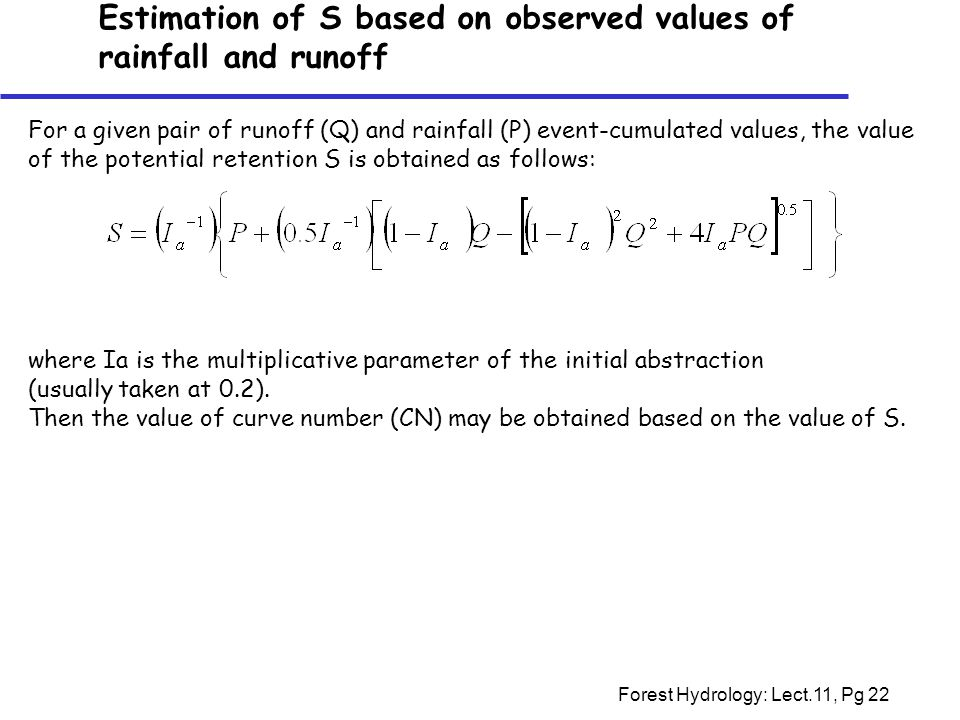 Estimation of S based on observed values of rainfall and runoff