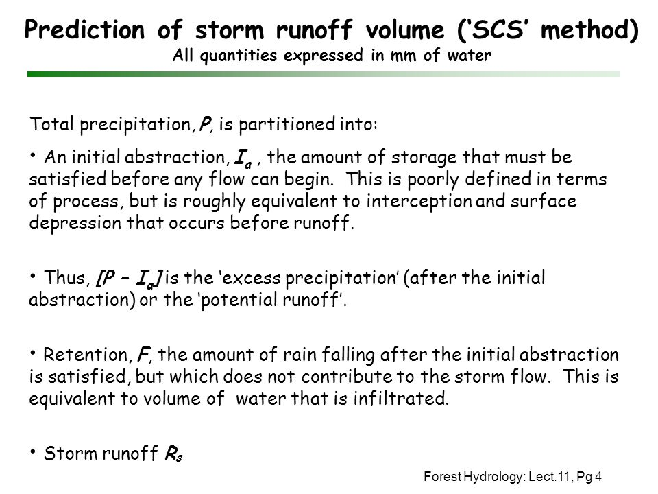 Prediction of storm runoff volume ('SCS' method) All quantities expressed in mm of water