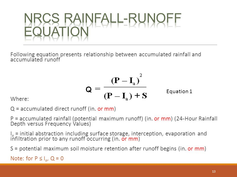 NRCS Rainfall-Runoff Equation