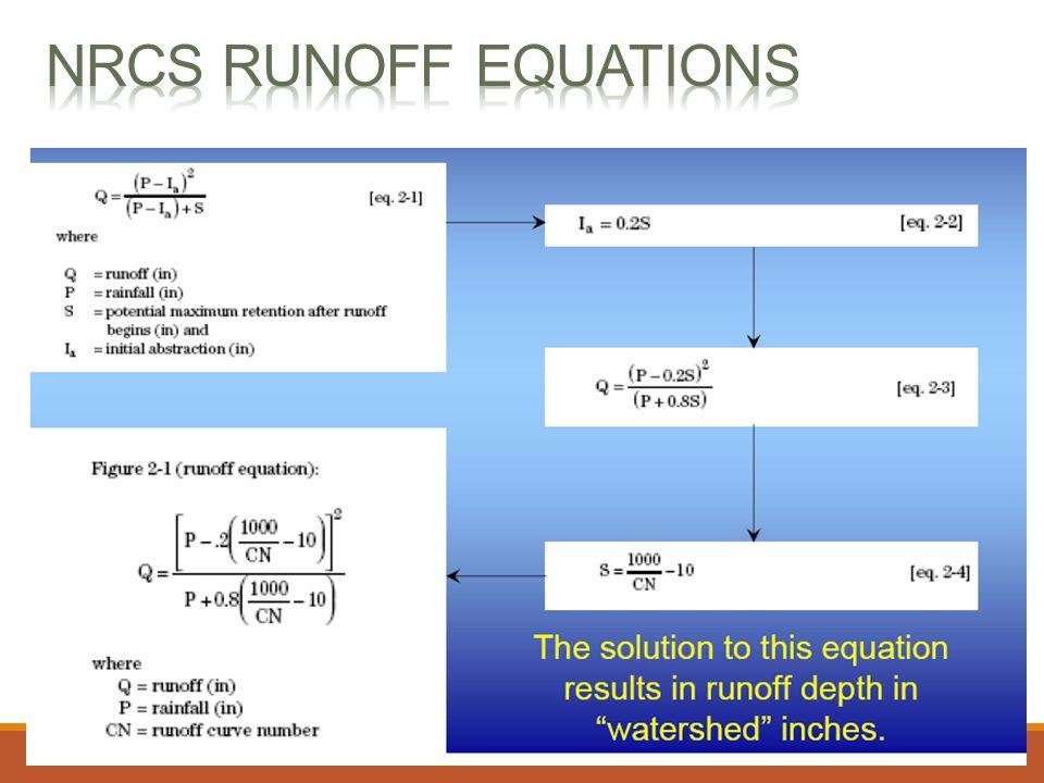 NRCS Runoff equations Source: http://njscdea.ncdea.org/CurveNumbers.pdf