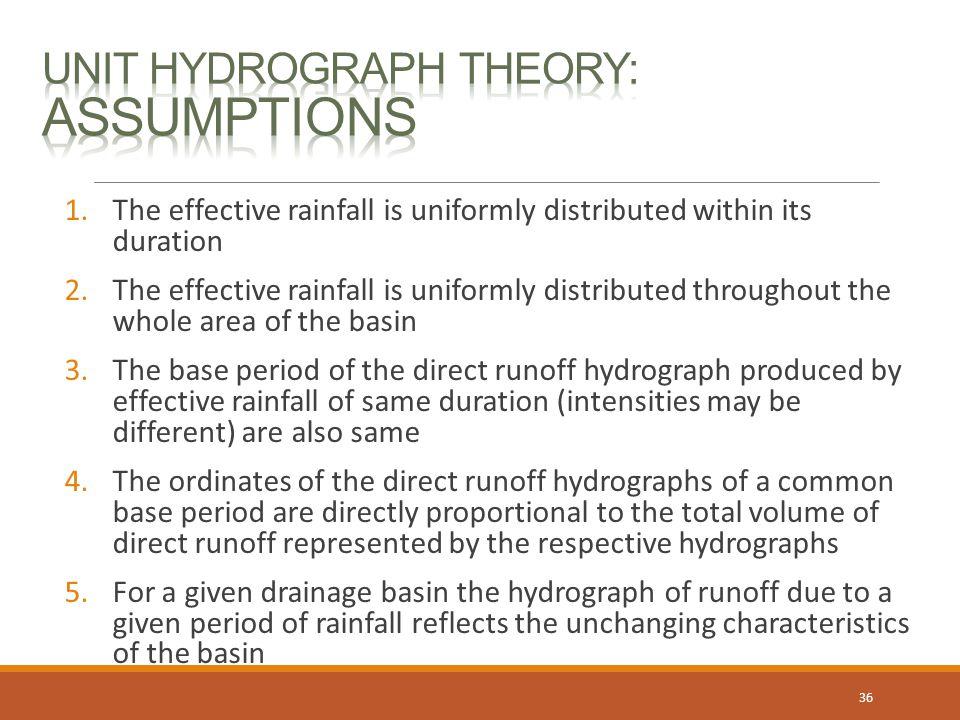 Unit Hydrograph Theory: Assumptions