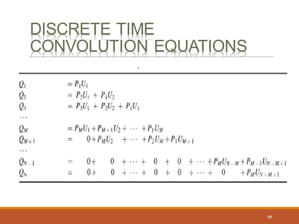 Discrete time convolution equations