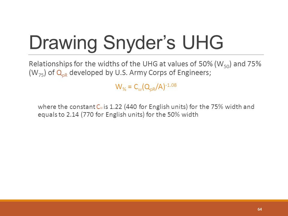 Drawing Snyder's UHG Relationships for the widths of the UHG at values of 50% (W50) and 75% (W75) of QpR developed by U.S. Army Corps of Engineers;