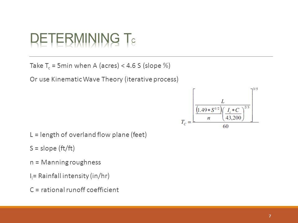 Determining Tc Take Tc = 5min when A (acres) < 4.6 S (slope %)