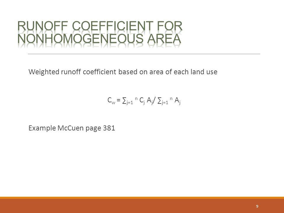Runoff coefficient for nonhomogeneous area