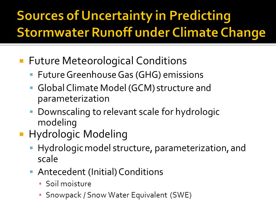 Sources of Uncertainty in Predicting Stormwater Runoff under Climate Change