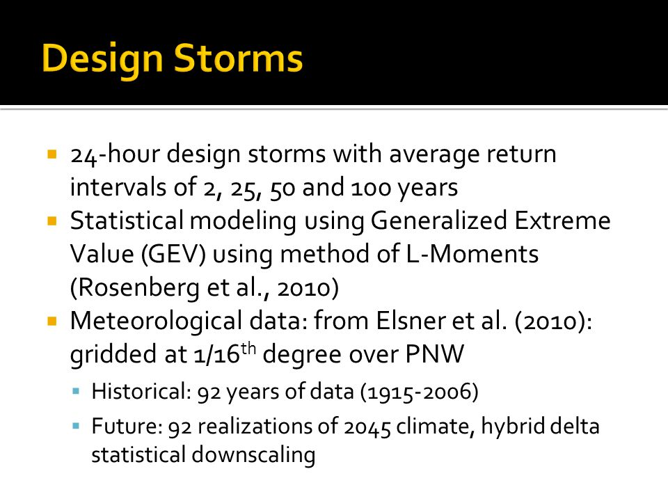 Design Storms 24-hour design storms with average return intervals of 2, 25, 50 and 100 years.
