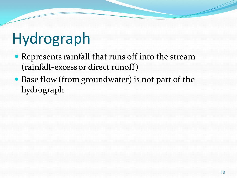 Hydrograph Represents rainfall that runs off into the stream (rainfall-excess or direct runoff)