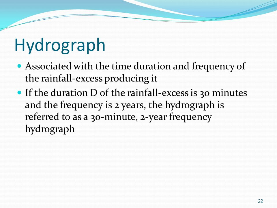 Hydrograph Associated with the time duration and frequency of the rainfall-excess producing it.