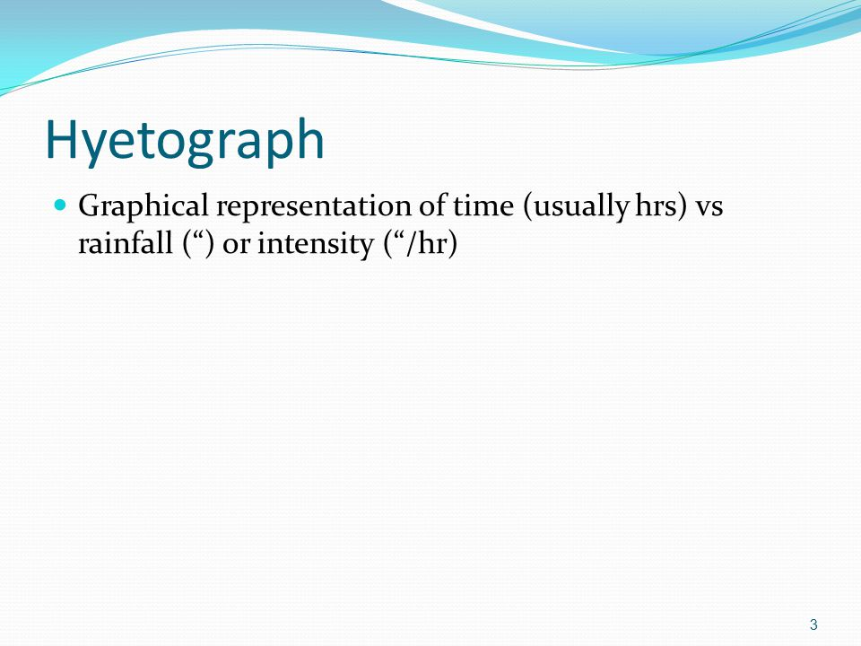 Hyetograph Graphical representation of time (usually hrs) vs rainfall ( ) or intensity ( /hr)