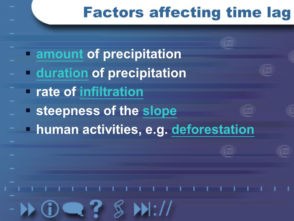 Factors affecting time lag