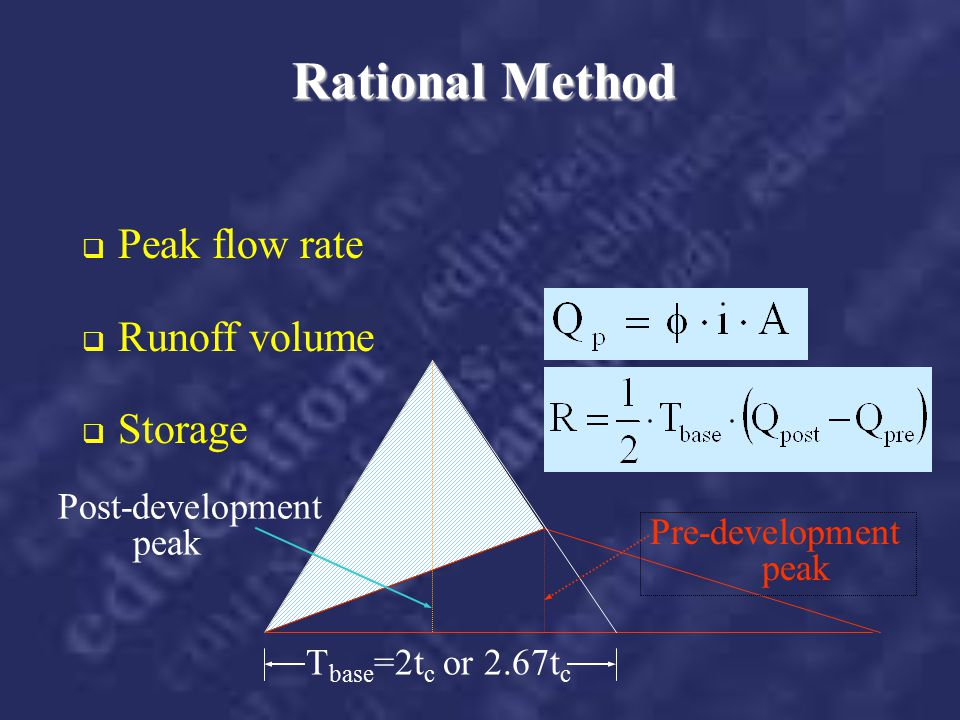 Rational Method Peak flow rate Runoff volume Storage Post-development