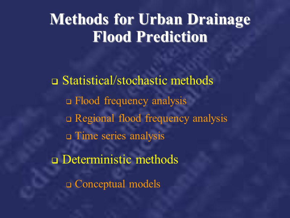 Methods for Urban Drainage Flood Prediction